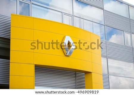 VILNIUS, LITHUANIA - AUGUST 7, 2016: Renault dealership logo. Renault S.A. is a French car manufacturer producing cars, vans, buses, trucks, tractors, tanks, buses/coaches and autorail vehicles.