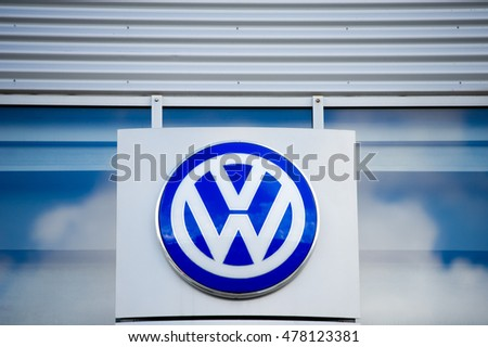 VILNIUS, LITHUANIA - AUGUST 7, 2016: VW dealership logo. Volkswagen is a German automobile manufacturer and the biggest German automaker and the second largest automaker in the world in 2016.