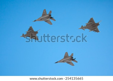 Vilnius, Lithuania - February 16, 2015: A shot of NATO Baltic Air Police planes during celebration of the Independence Day on February 16, 2015 in Vilnius. - stock photo