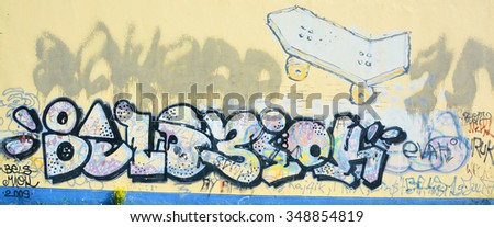 VILNIUS LITHUANIA 09 14 2015: Graffiti in Vilnius is the perfect place to walk in the back alleys and abandoned areas, looking for street art - stock photo
