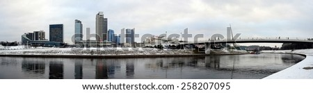 VILNIUS, LITHUANIA - JANUARY 29: Vilnius winter panorama with skyscrapers on Neris river board on January 29, 2015, Vilnius, Lithuania.