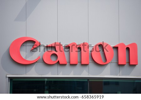 VILNIUS, LITHUANIA - JULY 30, 2016:Canon logo. Canon Inc. is a Japanese multinational corporation specialized in the manufacture of imaging and optical products, including cameras.