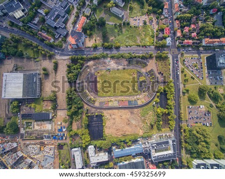 VILNIUS, LITHUANIA - JULY 11, 2016: Flying over the Vilnius and Zalgiris Stadium in Background.