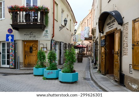 VILNIUS, LITHUANIA - JULY 10, 2015: Restaurant Naked Bite of Contemporary Cuisine on Stikliu Street in the Old Town, Vilnius, Lithuania - stock photo