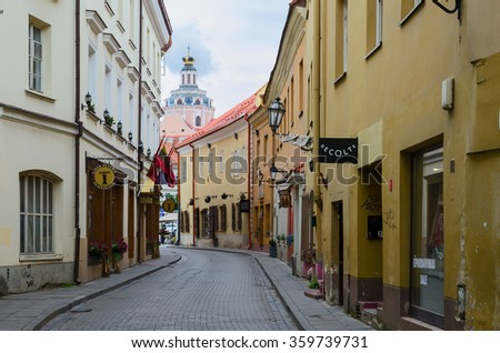 VILNIUS, LITHUANIA - JULY 10, 2015: Stikliu Street in Old Town, Vilnius, Lithuania - stock photo