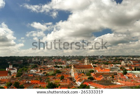 VILNIUS, LITHUANIA - JULY 02, 2008: The historic city. The roofs of the old town, the panorama of the Lithuanian capital. July 02, 2008. Vilnius, Lithuania. - stock photo