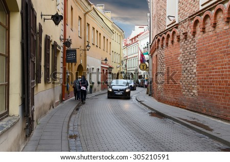 VILNIUS, LITHUANIA - JULY 10, 2015: Unidentified people are walking on the street Stikliu in Old Town, Vilnius, Lithuania - stock photo