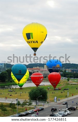 VILNIUS, LITHUANIA - JUNE 27 2013:  Hot air balloons in the Vilnius city center. On June 27, 2013 in Vilnius, Lithuania
