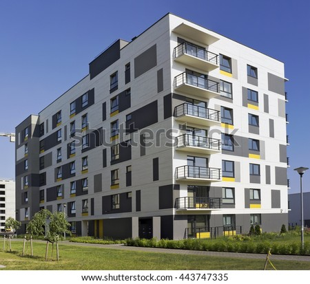 VILNIUS, LITHUANIA - JUNE 26, 2016: The modern modular house with low cost small-sized apartments for young families. It is the ecological region of Pilaite of the Lithuanian capital - stock photo