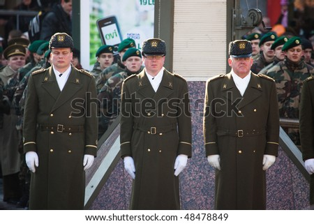 VILNIUS, LITHUANIA - MARCH 11:  Guards of armed forces during ceremony of hoisting flags on 20th Anniversary of Restoration of Independence of Lithuania on Mar 11, 2010 in Vilnius, Lithuania.