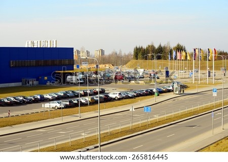 VILNIUS, LITHUANIA - MARCH 8: IKEA Vilnius Store on March 8, 2015, Vilnius, Lithuania.  Founded in Sweden in 1943, Ikea now is the world's largest furniture retailer.
