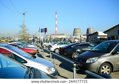 VILNIUS, LITHUANIA - MARCH 17:  Market of second hand used cars in Vilnius city on March 17, 2015, Vilnius, Lithuania. - stock photo
