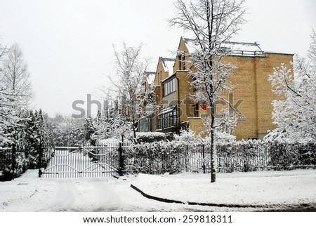 VILNIUS, LITHUANIA - MARCH 5: Winter snowfall in capital of Lithuania Vilnius city Fabijoniskes district on March 5, 2015, Vilnius, Lithuania.
