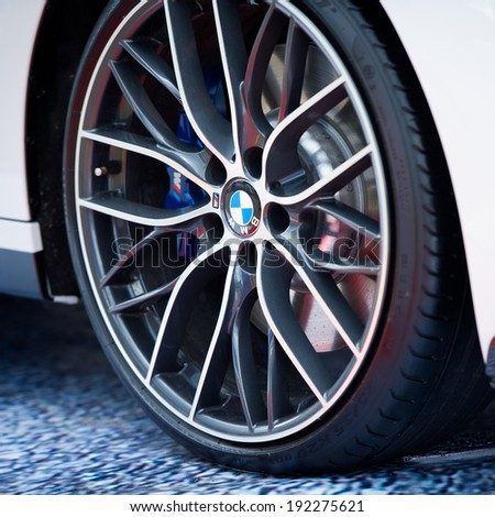 VILNIUS, LITHUANIA-MAY 9: BMW Alloy Wheel on May 9, 2014 in Vilnius, Lithuania. Bayerische Motoren Werke AG, commonly known as BMW or BMW AG, is a German automobile, motorcycle and engine manufacturing company. - stock photo