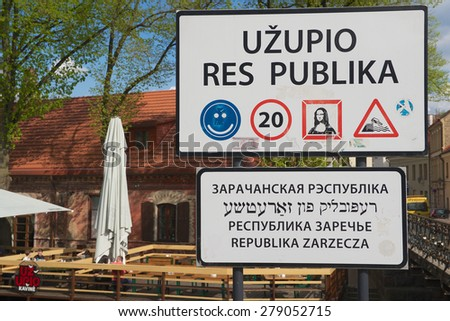 "VILNIUS, LITHUANIA - MAY 05, 2015: Exterior of the sign at the entrance to the ""Uzupio Republic"" area in Vilnius, Lithuania."