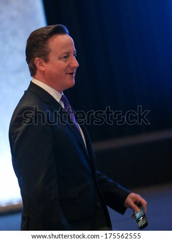 VILNIUS, LITHUANIA - NOV. 29: British Prime Minister David Cameron during Eastern Partnership Summit in Vilnius. November 29, 2013 in Vilnius, Lithuania. - stock photo