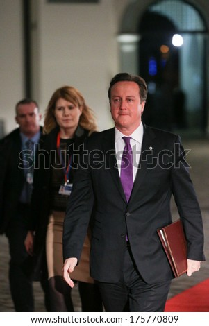 Vilnius, Lithuania - NOV. 28: British Prime Minister David Cameron is walking on the red carpet during Eastern Partnership Summit in Vilnius. November 28, 2013 in Vilnius, Lithuania. - stock photo