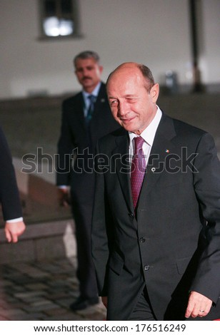 Vilnius, Lithuania - NOV. 28: President of Romania Traian Basescu is walking on the red carpet at a during Eastern Partnership Summit in Vilnius. November 28, 2013 in Vilnius, Lithuania.