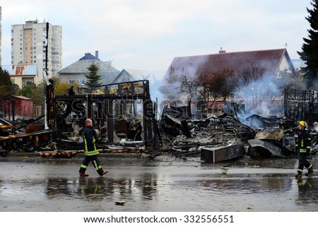 VILNIUS, LITHUANIA - OCTOBER 24: Farmers Market near Ukmerges street after fire on October 24, 2015, Vilnius, Lithuania.