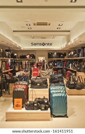 VILNIUS, LITHUANIA - OCTOBER 24: SAMSONITE store on October 24 in Vilnius, Lithuania. Samsonite International S.A. is an American multinational luggage manufacturer and retailer. - stock photo