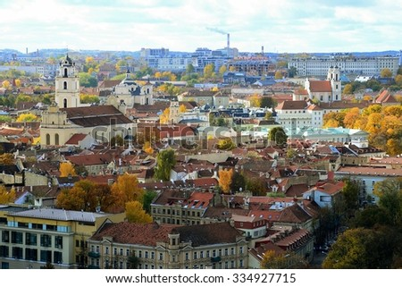 VILNIUS, LITHUANIA - OCTOBER 24: Vilnius town aerial view from three cross hill on October 24, 2015, Vilnius, Lithuania.