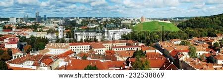 VILNIUS, LITHUANIA - SEPTEMBER 24: Vilnius city aerial view from Vilnius University tower on September 24, 2014, Vilnius, Lithuania. - stock photo