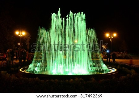 VILNIUS, LITHUANIA - SEPTEMBER 3 : Vilnius city Bernardinu garden evening music dancing fountain on September 3, 2015, Vilnius, Lithuania.