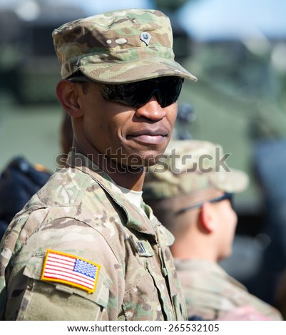 VILNIUS - MAR 22: US Army Soldier during the Dragoon Ride exercise on March 22, 2015 in Vilnius, Lithuania. - stock photo