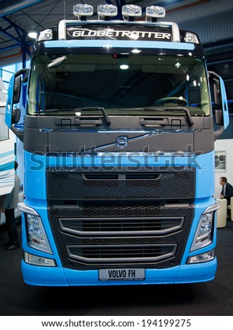 VILNIUS-MAY 9: Volvo FH Truck on May 9, 2014 in Vilnius, Lithuania. Volvo Trucks is a global truck manufacturer based in Gothenburg, Sweden. Volvo is the world's second largest heavy-duty truck brand. - stock photo