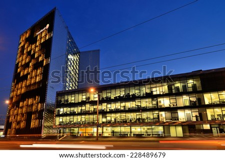 VILNIUS, NOVEMBER 05: The Head Office of Swedbank on November 05, 2014 in Vilnius, Lithuania. Swedbank is the leading bank in Sweden, Estonia, Latvia and Lithuania.