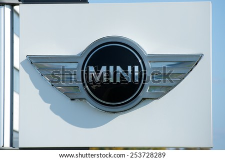 VILNIUS - OCT 2: MINI dealership logo on Oct. 2, 2014 in Vilnius, Lithuania. MINI is a British automotive marque (British Motor Corporation) owned by BMW which specialises in small cars.  - stock photo