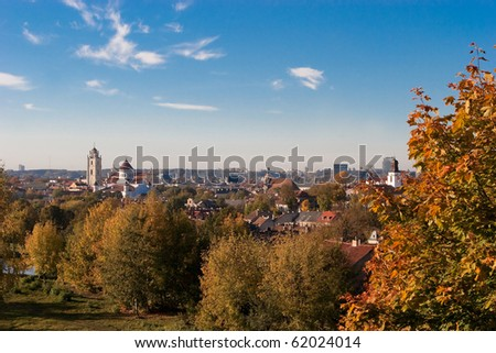 Vilnius old town cityscape in the golden autumn, Lithuania, Subacius viewpoint.