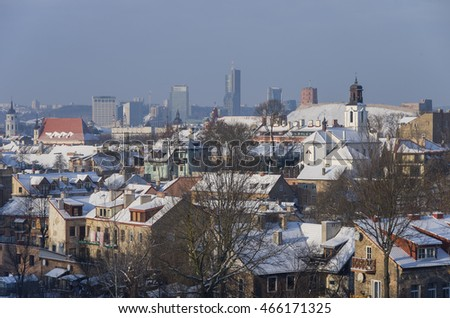 Vilnius panorama in winter. Lithuania