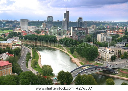 Vilnius - view on the capital of Lithuania - stock photo