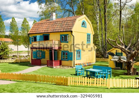 VIMMERBY, SWEDEN - May 16 - Astrid Lindgren's World is a theme park located in Astrid Lindgren's native city Vimmerby in Sweden  photo taken 16 MAY 2014. - stock photo