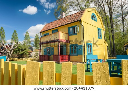 VIMMERBY, SWEDEN - May 16 - Picture of Pippi's house in  Astrid Lindgren's World, a children amusement park - 16 May 2014. - stock photo