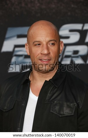 "Vin Diesel at the ""Fast And Furious 6"" Los Angeles Premiere, Gibson Amphitheatre, Universal City, CA  05-21-13 - stock photo"