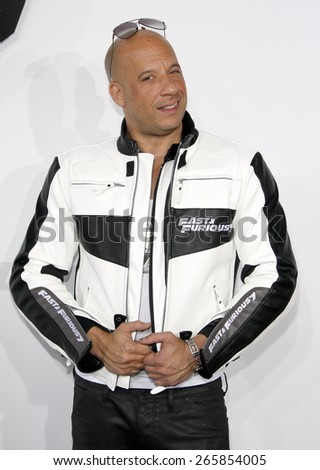 Vin Diesel at the Los Angeles premiere of 'Furious 7' held at the TCL Chinese Theatre IMAX in Hollywood, USA on April 1, 2015.  - stock photo