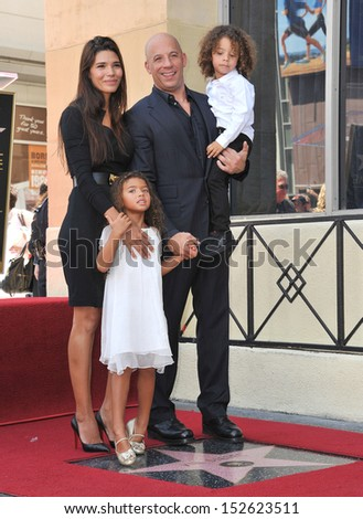 Vin Diesel & family on Hollywood Blvd where he was honored with the 2,504th star on the Hollwood Walk of Fame. August 26, 2013  Los Angeles, CA
