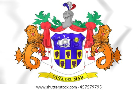 Vina Del Mar Coat of Arms, Chile. 3D Illustration.   - stock photo
