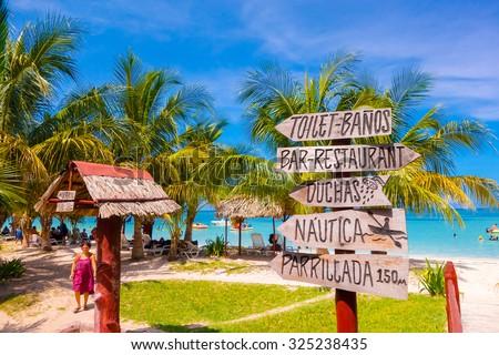 VINALES, CUBA - SEPTEMBER 12, 2015: Cayo Jutias beach in the northern seaside of Cuba. - stock photo
