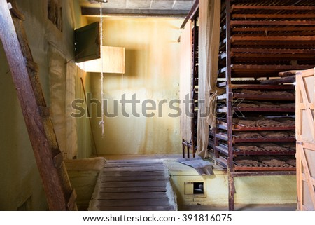 Vinales Valley, Cuba. March 31, 2015. Drying room on tobacco farm.