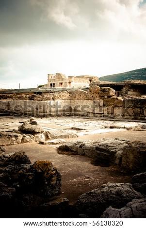 Vinatge landscape at Knossos Archeological Site in Crete, Greece - stock photo