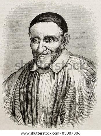 Vincent de Paul old engraved portrait. By unidentified author, published on Magasin Pittoresque, Paris, 1840 - stock photo
