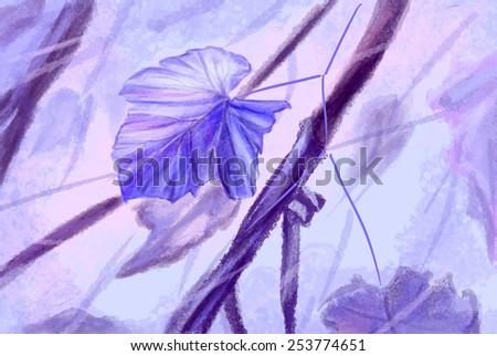 Vine leaves, lilac color. Sketch. - stock photo