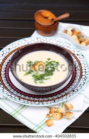 vine leaves soup - a bowl  soup - stock photo