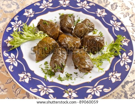 vine leaves stuffed with rice (dolmades served on a plate) - stock photo