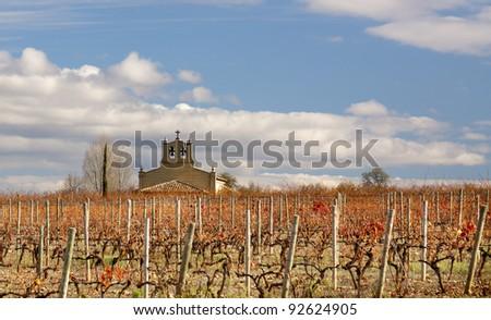 Vineyard and chapel (La Rioja,Spain) - stock photo