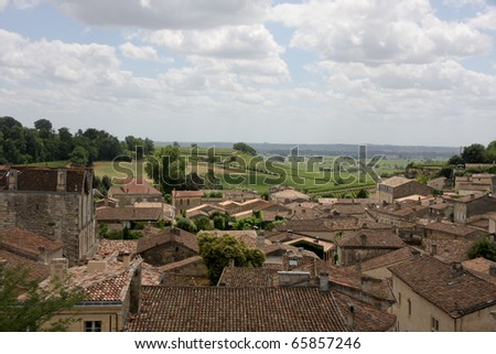 Vineyard and Fields of St. Emilion with Town in Foreground
