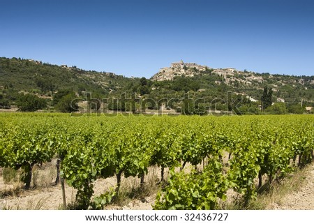 Vineyard and hilltop village of Gordes in the Luberon, Vaucluse, Provence, France - stock photo